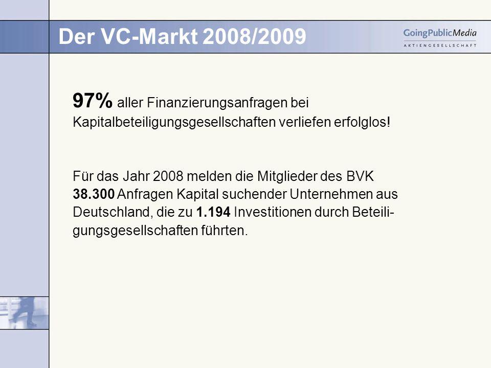 Der VC-Markt 2008/2009 97% aller Finanzierungsanfragen bei Kapitalbeteiligungsgesellschaften verliefen erfolglos! Für das Jahr 2008 melden die Mitglie
