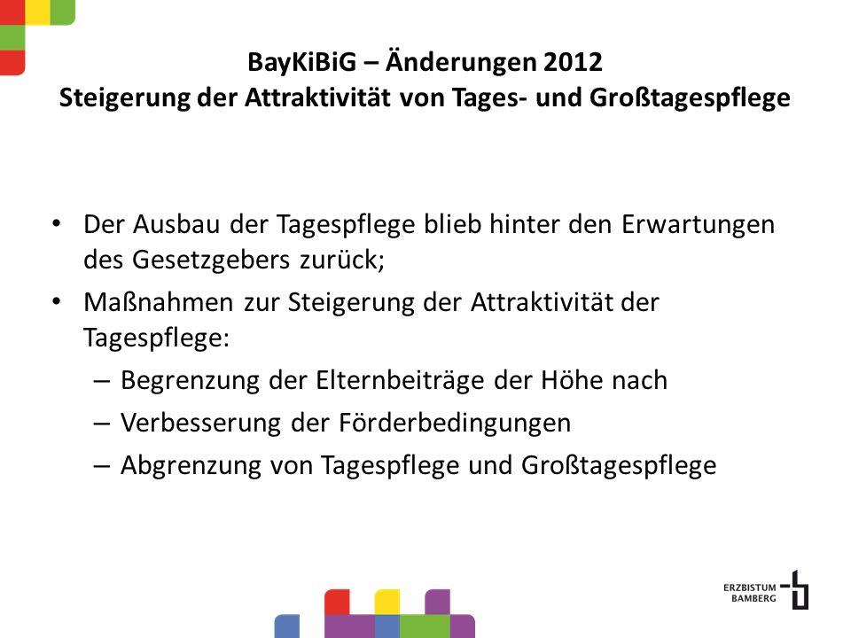 BayKiBiG – Änderungen 2012 Steigerung der Attraktivität von Tages- und Großtagespflege Der Ausbau der Tagespflege blieb hinter den Erwartungen des Ges