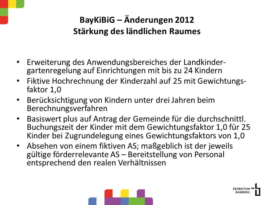 BayKiBiG – Änderungen 2012 Stärkung des ländlichen Raumes Erweiterung des Anwendungsbereiches der Landkinder- gartenregelung auf Einrichtungen mit bis zu 24 Kindern Fiktive Hochrechnung der Kinderzahl auf 25 mit Gewichtungs- faktor 1,0 Berücksichtigung von Kindern unter drei Jahren beim Berechnungsverfahren Basiswert plus auf Antrag der Gemeinde für die durchschnittl.