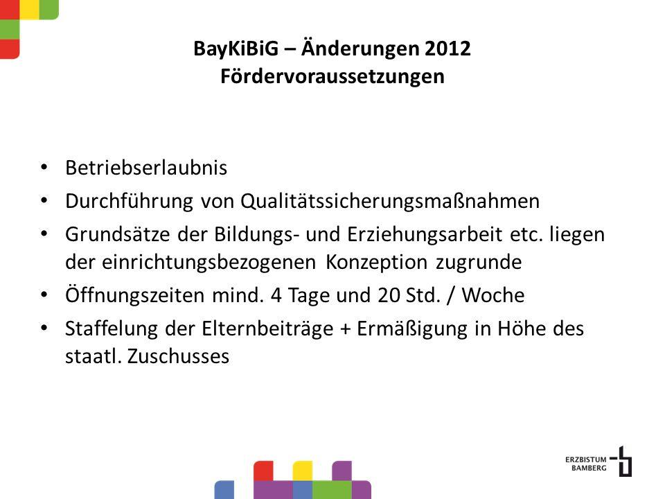 BayKiBiG – Änderungen 2012 Fördervoraussetzungen Betriebserlaubnis Durchführung von Qualitätssicherungsmaßnahmen Grundsätze der Bildungs- und Erziehungsarbeit etc.