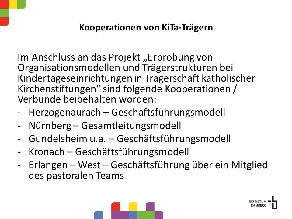 Im Anschluss an das Projekt Erprobung von Organisationsmodellen und Trägerstrukturen bei Kindertageseinrichtungen in Trägerschaft katholischer Kirchenstiftungen sind folgende Kooperationen / Verbünde beibehalten worden: -Herzogenaurach – Geschäftsführungsmodell -Nürnberg – Gesamtleitungsmodell -Gundelsheim u.a.