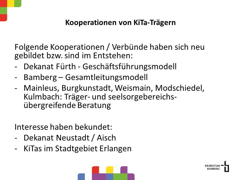 Kooperationen von KiTa-Trägern Folgende Kooperationen / Verbünde haben sich neu gebildet bzw. sind im Entstehen: -Dekanat Fürth - Geschäftsführungsmod