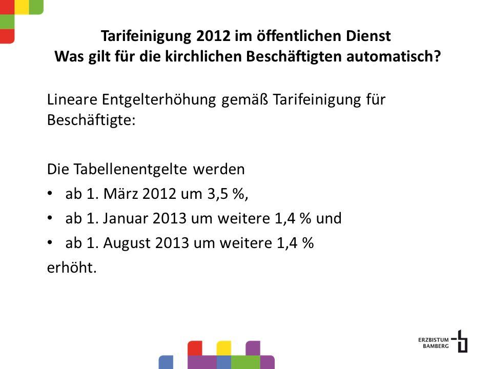 Tarifeinigung 2012 im öffentlichen Dienst Was gilt für die kirchlichen Beschäftigten automatisch? Lineare Entgelterhöhung gemäß Tarifeinigung für Besc