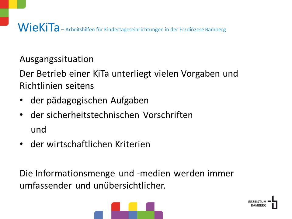 WieKiTa – Arbeitshilfen für Kindertageseinrichtungen in der Erzdiözese Bamberg Ausgangssituation Der Betrieb einer KiTa unterliegt vielen Vorgaben und Richtlinien seitens der pädagogischen Aufgaben der sicherheitstechnischen Vorschriften und der wirtschaftlichen Kriterien Die Informationsmenge und -medien werden immer umfassender und unübersichtlicher.