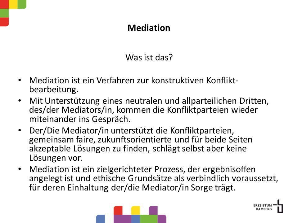 Mediation Was ist das? Mediation ist ein Verfahren zur konstruktiven Konflikt- bearbeitung. Mit Unterstützung eines neutralen und allparteilichen Drit