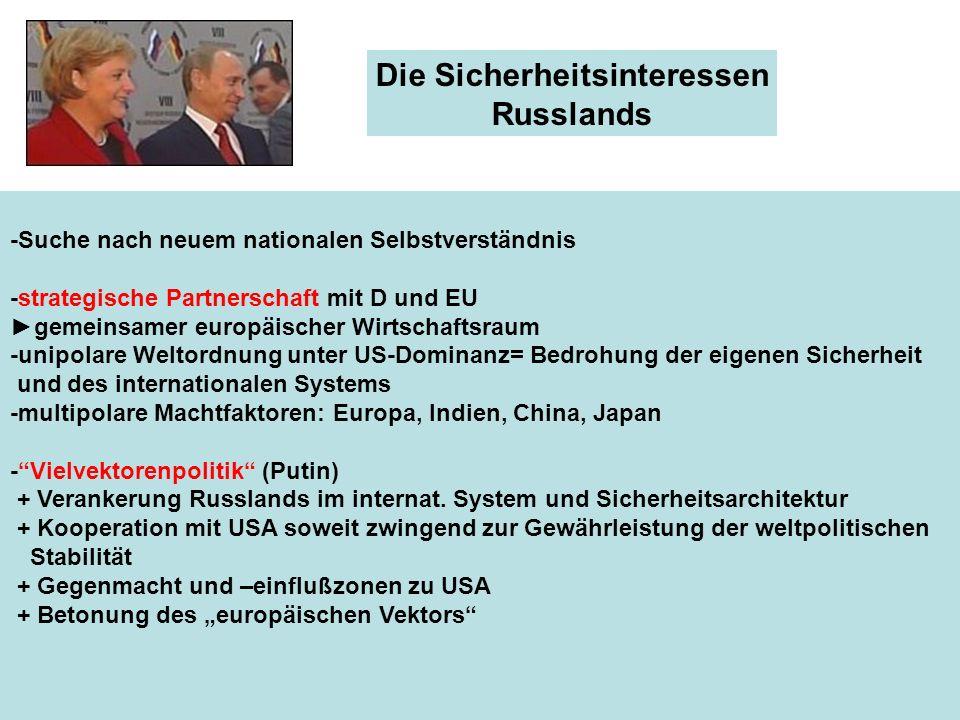 Die Sicherheitsinteressen Russlands -Suche nach neuem nationalen Selbstverständnis -strategische Partnerschaft mit D und EU gemeinsamer europäischer W