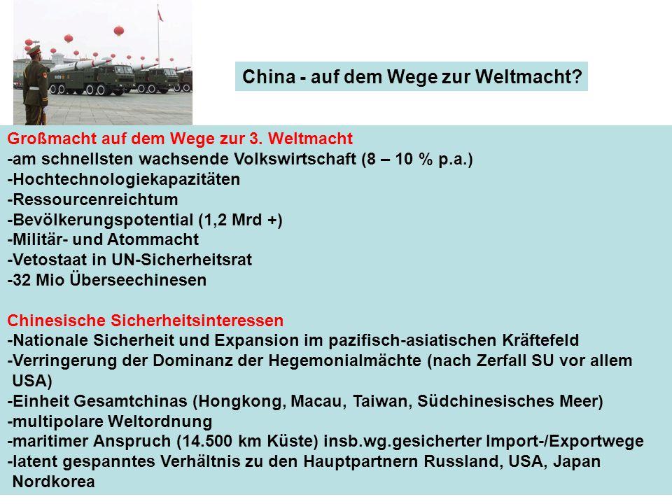 China - auf dem Wege zur Weltmacht? Großmacht auf dem Wege zur 3. Weltmacht -am schnellsten wachsende Volkswirtschaft (8 – 10 % p.a.) -Hochtechnologie