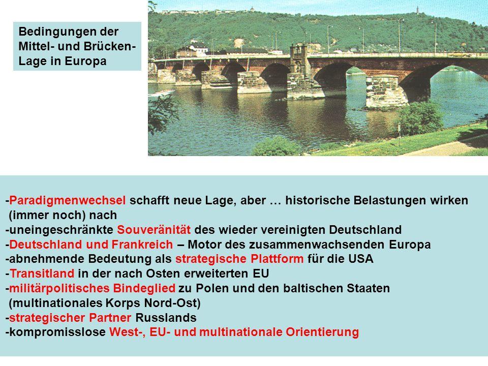 Bedingungen der Mittel- und Brücken- Lage in Europa -Paradigmenwechsel schafft neue Lage, aber … historische Belastungen wirken (immer noch) nach -une