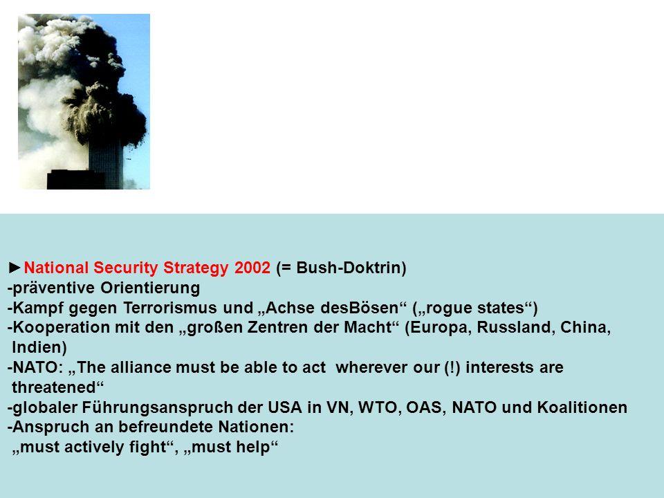 National Security Strategy 2002 (= Bush-Doktrin) -präventive Orientierung -Kampf gegen Terrorismus und Achse desBösen (rogue states) -Kooperation mit