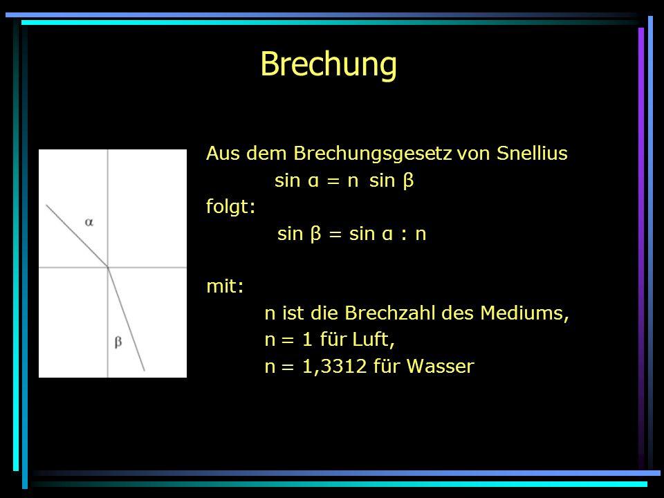 Brechung Aus dem Brechungsgesetz von Snellius n 1 sin α = n sin β folgt: sin β = sin α : n mit: n ist die Brechzahl des Mediums, n = 1 für Luft, n = 1