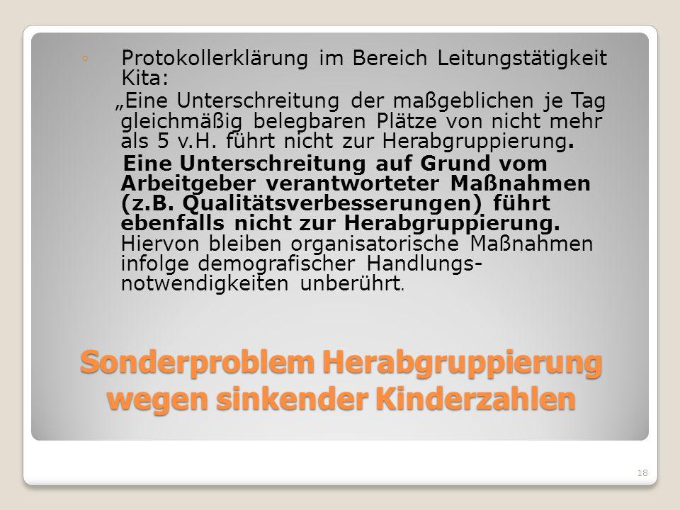 18 Sonderproblem Herabgruppierung wegen sinkender Kinderzahlen Protokollerklärung im Bereich Leitungstätigkeit Kita: Eine Unterschreitung der maßgebli