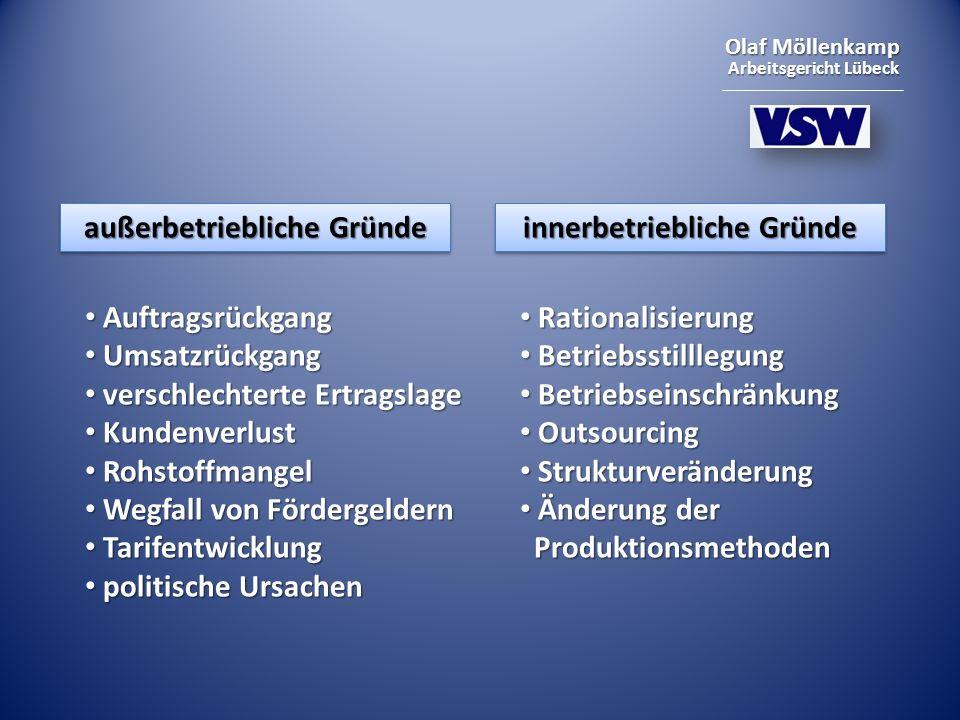 Olaf Möllenkamp Arbeitsgericht Lübeck außerbetriebliche Gründe innerbetriebliche Gründe Auftragsrückgang Auftragsrückgang Umsatzrückgang Umsatzrückgan