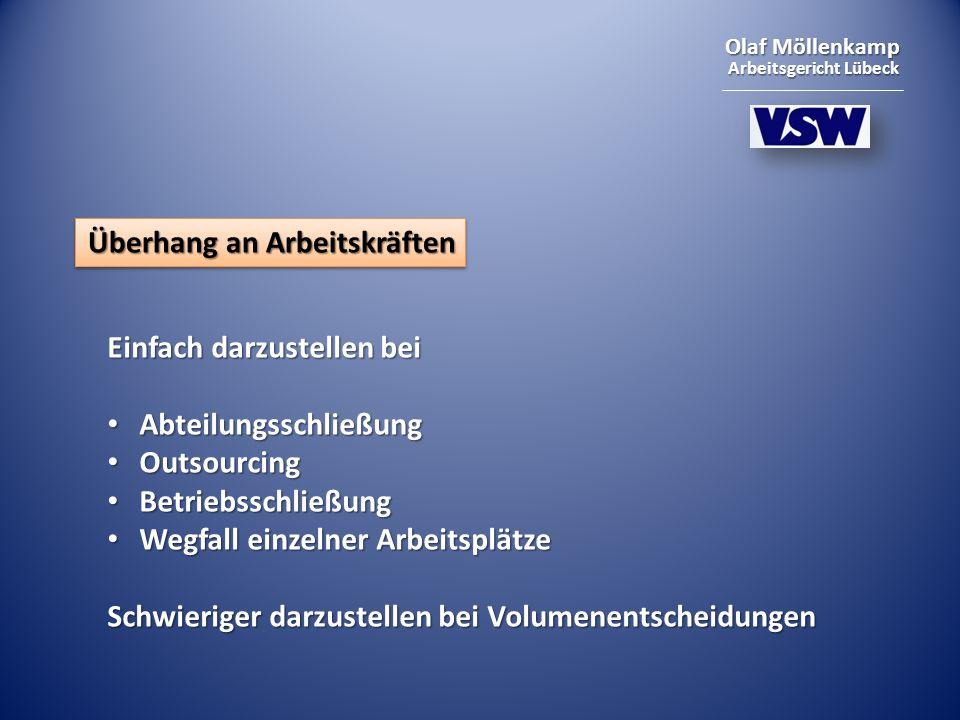 Olaf Möllenkamp Arbeitsgericht Lübeck Überhang an Arbeitskräften Einfach darzustellen bei Abteilungsschließung Abteilungsschließung Outsourcing Outsourcing Betriebsschließung Betriebsschließung Wegfall einzelner Arbeitsplätze Wegfall einzelner Arbeitsplätze Schwieriger darzustellen bei Volumenentscheidungen