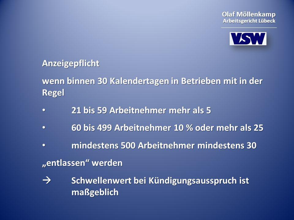 Olaf Möllenkamp Arbeitsgericht Lübeck Anzeigepflicht wenn binnen 30 Kalendertagen in Betrieben mit in der Regel 21 bis 59 Arbeitnehmer mehr als 5 21 b