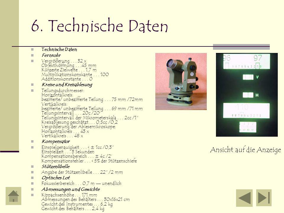 6. Technische Daten Technische Daten Fernrohr Vergrößerung... 32 x Objektivöffnung...45 mm Kürzeste Zielweite... 1,7 m Multiplikationskonskante... 100