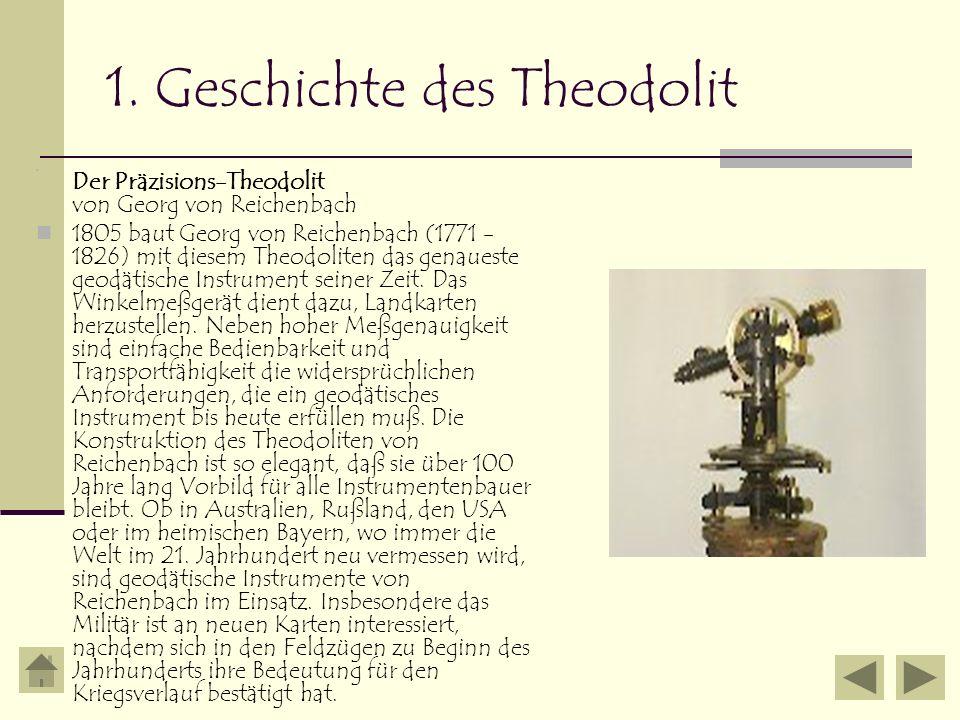 1. Geschichte des Theodolit Der Präzisions-Theodolit von Georg von Reichenbach 1805 baut Georg von Reichenbach (1771 - 1826) mit diesem Theodoliten da