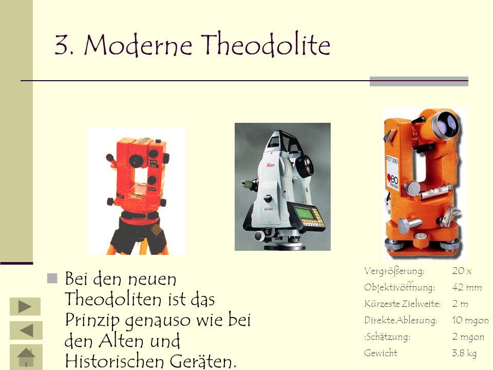 3. Moderne Theodolite Bei den neuen Theodoliten ist das Prinzip genauso wie bei den Alten und Historischen Geräten. Vergrößerung:20 x Objektivöffnung:
