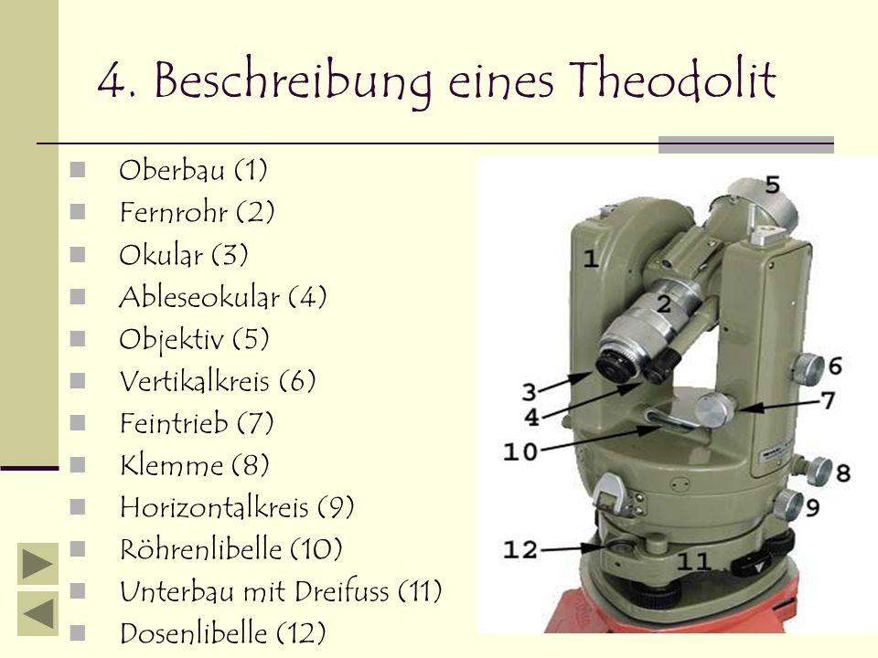 4. Beschreibung eines Theodolit Oberbau (1) Fernrohr (2) Okular (3) Ableseokular (4) Objektiv (5) Vertikalkreis (6) Feintrieb (7) Klemme (8) Horizonta