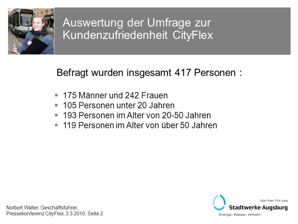 Auswertung der Umfrage zur Kundenzufriedenheit CityFlex Norbert Walter, Geschäftsführer, Pressekonferenz CityFlex, 3.3.2010, Seite 13 Frage: Was gefällt Ihnen am CityFlex besonders gut.