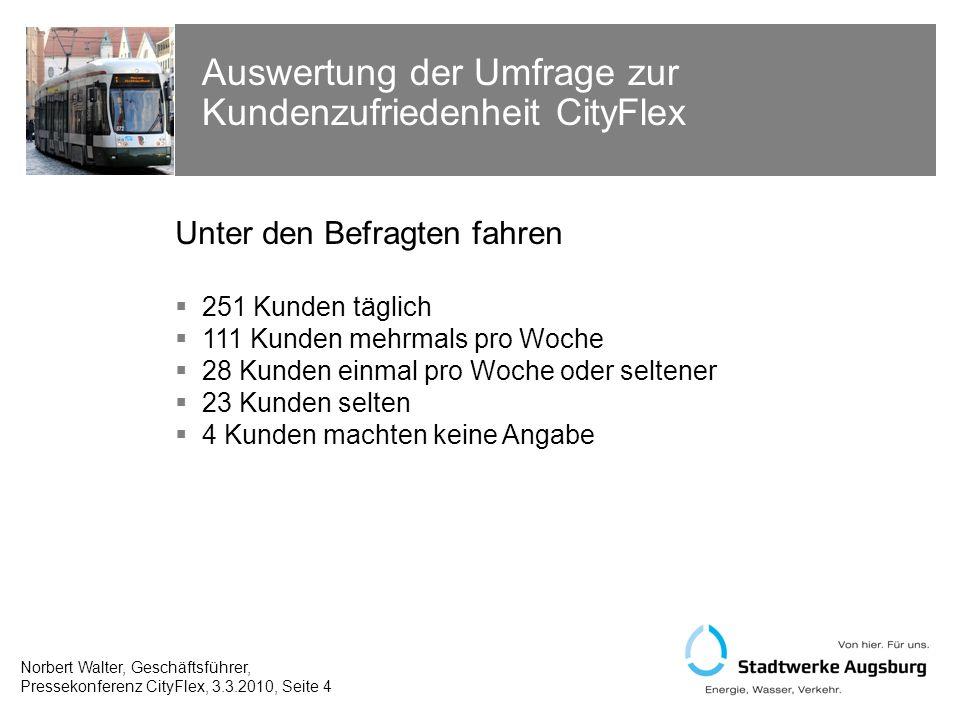 Bewertung des Gesamteindrucks CityFlex: Gesamtnote 2,1 (Schulnoten 1-5) Norbert Walter, Geschäftsführer, Pressekonferenz CityFlex, 3.3.2010, Seite 5