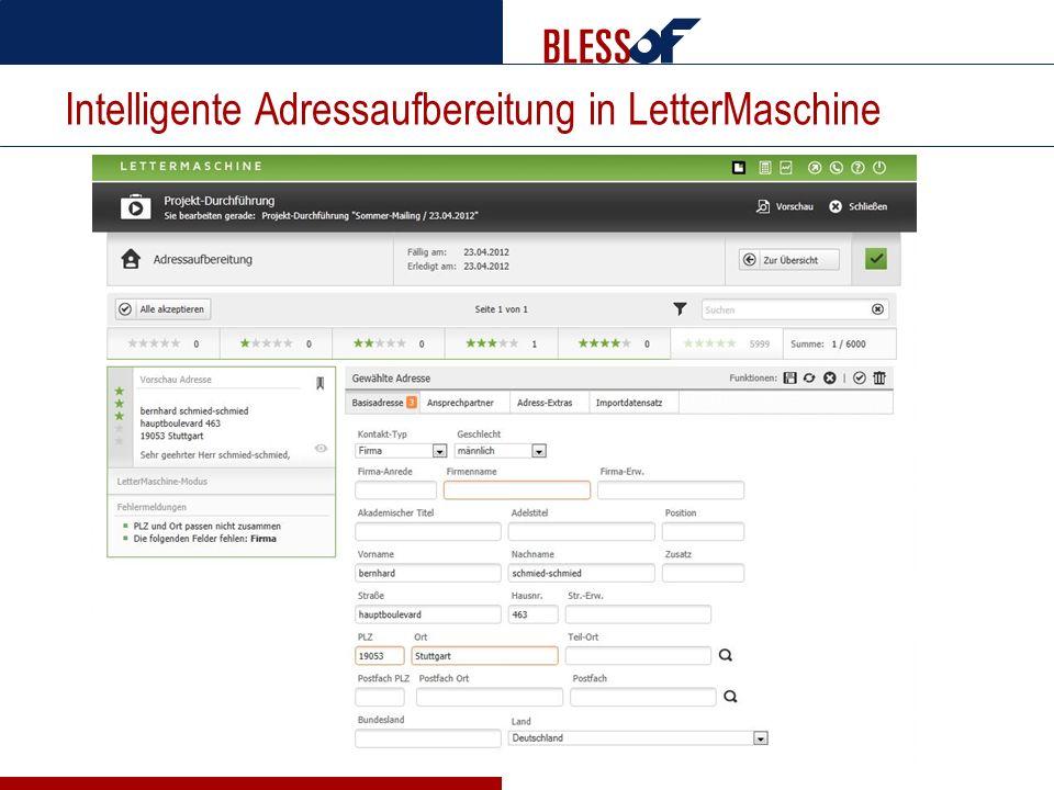 Intelligente Adressaufbereitung in LetterMaschine