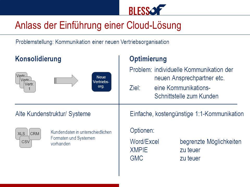 Konsolidierung Optimierung Problem:individuelle Kommunikation der neuen Ansprechpartner etc. Ziel:eine Kommunikations- Schnittstelle zum Kunden Proble