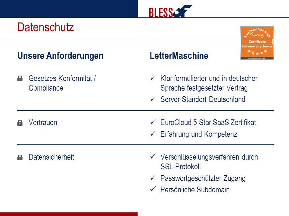 Datenschutz Unsere Anforderungen Gesetzes-Konformität / Compliance Vertrauen Datensicherheit LetterMaschine Klar formulierter und in deutscher Sprache