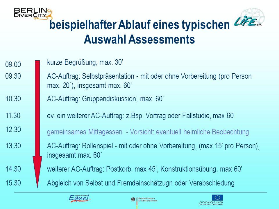 beispielhafter Ablauf eines typischen Auswahl Assessments kurze Begrüßung, max. 30 AC-Auftrag: Selbstpräsentation - mit oder ohne Vorbereitung (pro Pe