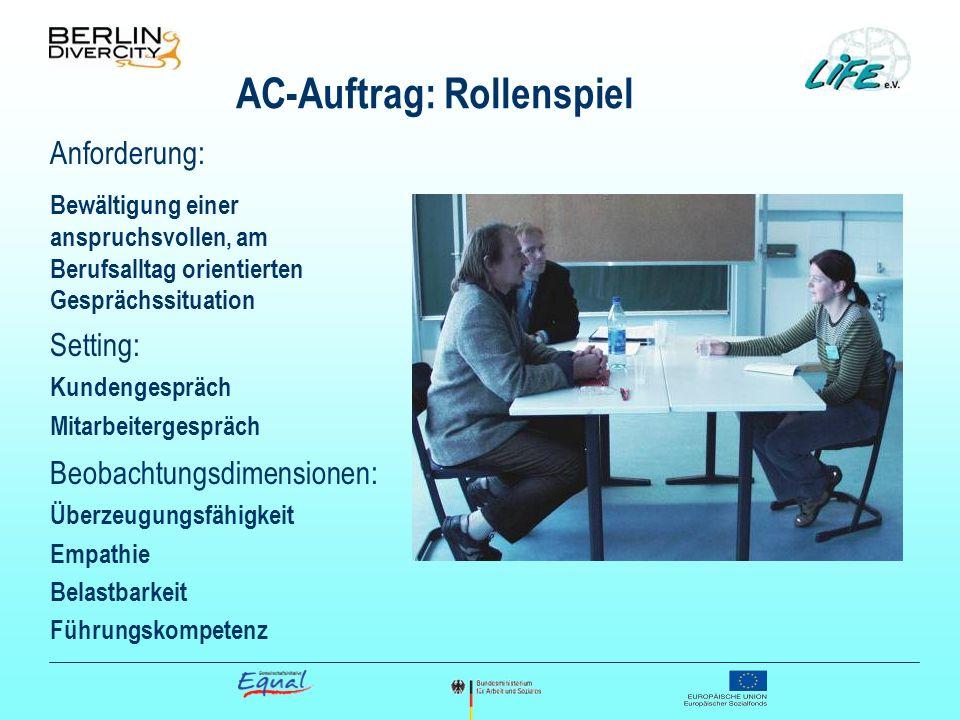 AC-Auftrag: Rollenspiel Anforderung: Bewältigung einer anspruchsvollen, am Berufsalltag orientierten Gesprächssituation Setting: Kundengespräch Mitarb