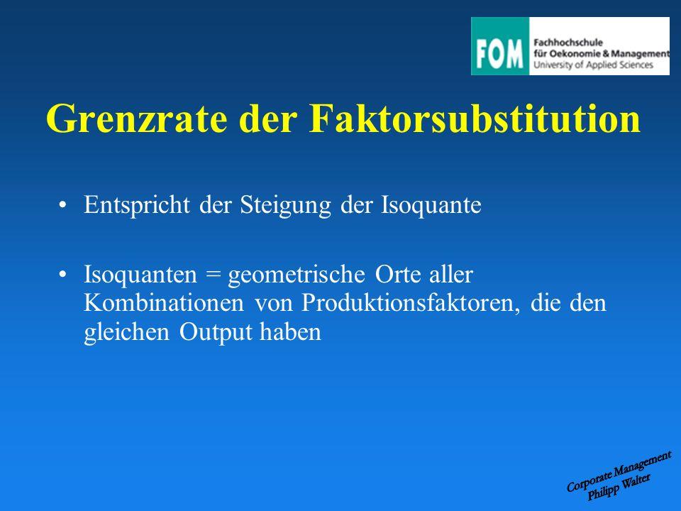 Grenzrate der Faktorsubstitution Entspricht der Steigung der Isoquante Isoquanten = geometrische Orte aller Kombinationen von Produktionsfaktoren, die
