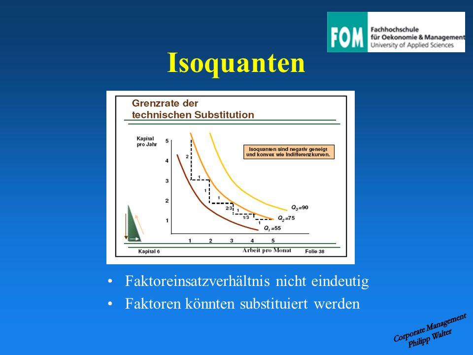 Isoquanten Faktoreinsatzverhältnis nicht eindeutig Faktoren könnten substituiert werden