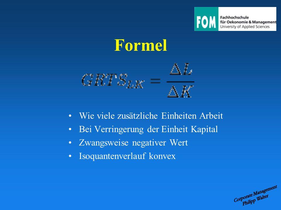 Formel Wie viele zusätzliche Einheiten Arbeit Bei Verringerung der Einheit Kapital Zwangsweise negativer Wert Isoquantenverlauf konvex