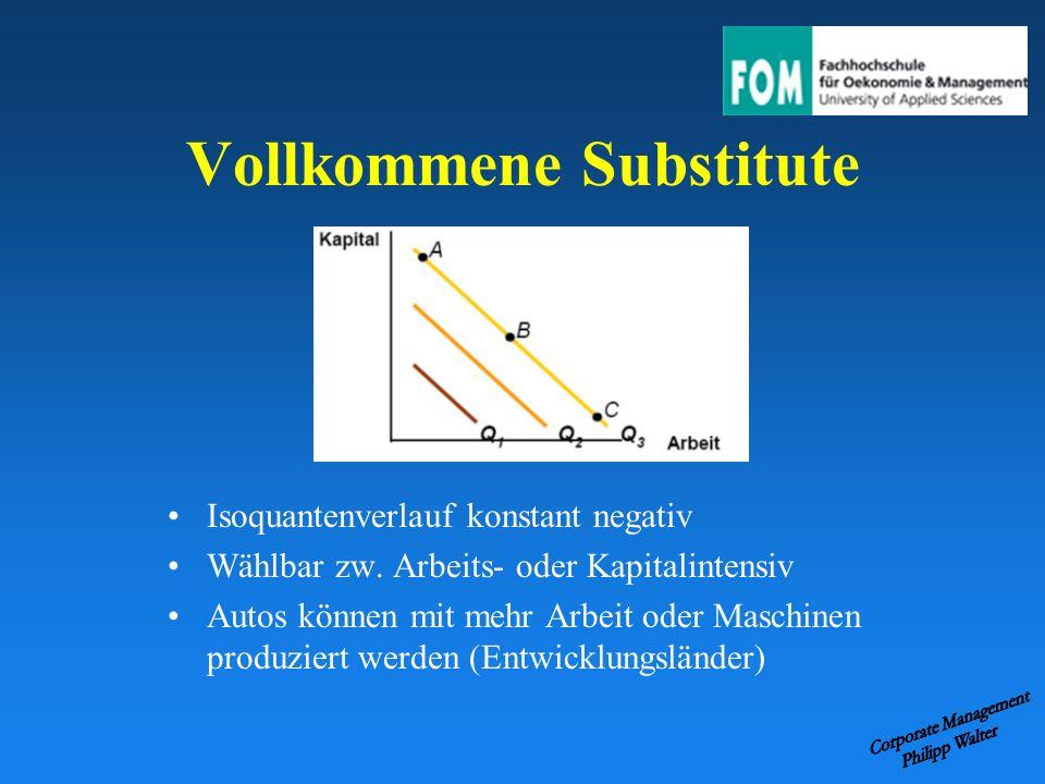 Vollkommene Substitute Isoquantenverlauf konstant negativ Wählbar zw. Arbeits- oder Kapitalintensiv Autos können mit mehr Arbeit oder Maschinen produz