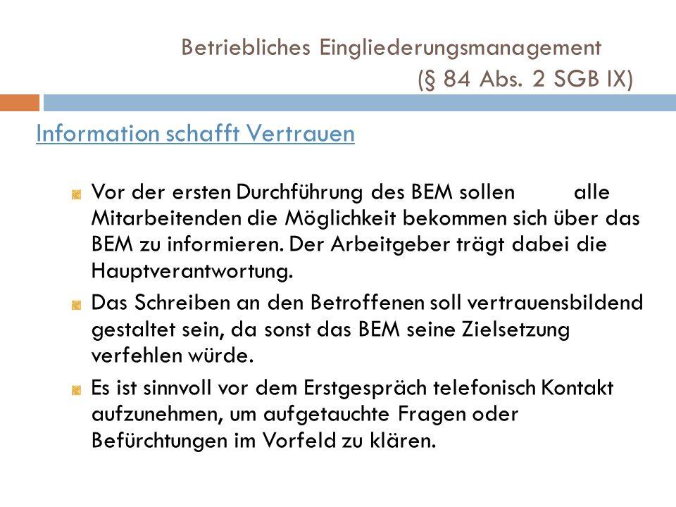 Information schafft Vertrauen Vor der ersten Durchführung des BEM sollen alle Mitarbeitenden die Möglichkeit bekommen sich über das BEM zu informieren
