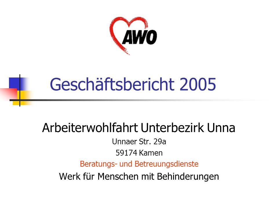Geschäftsbericht 2005 Arbeiterwohlfahrt Unterbezirk Unna Unnaer Str. 29a 59174 Kamen Beratungs- und Betreuungsdienste Werk für Menschen mit Behinderun