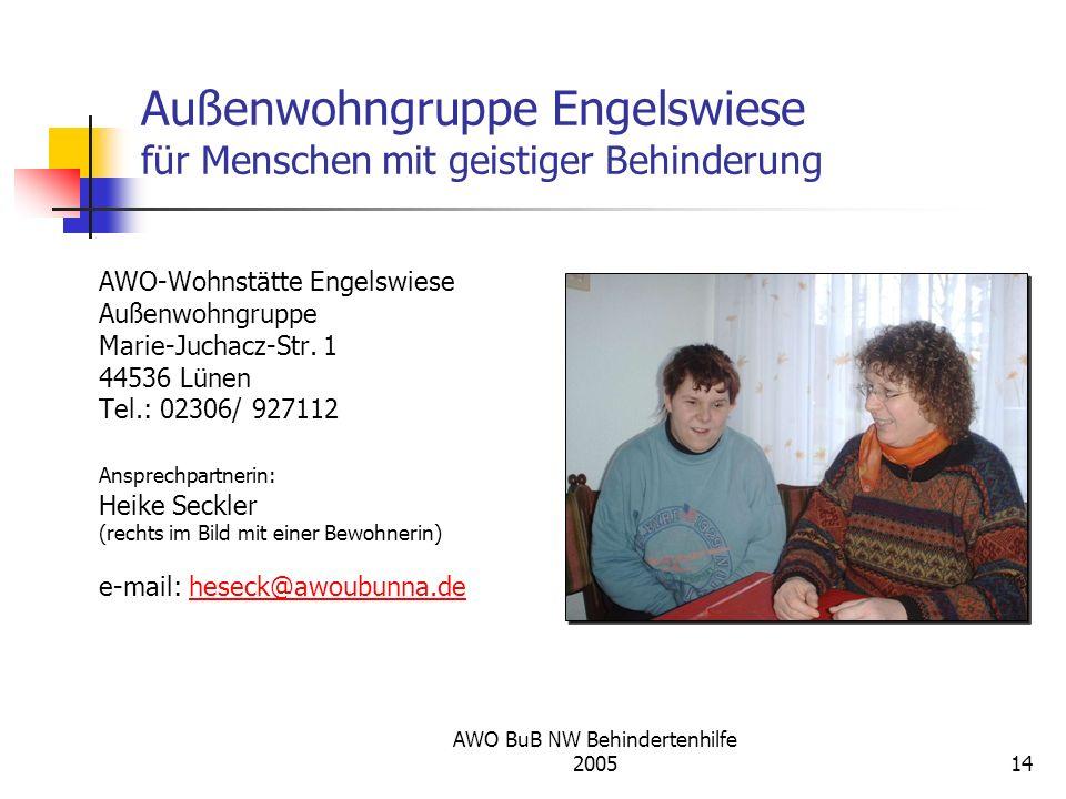 AWO BuB NW Behindertenhilfe 200514 Außenwohngruppe Engelswiese für Menschen mit geistiger Behinderung AWO-Wohnstätte Engelswiese Außenwohngruppe Marie