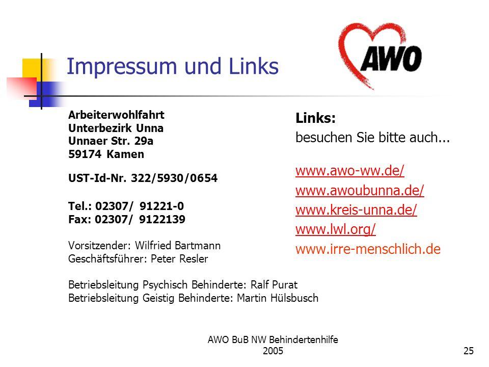 AWO BuB NW Behindertenhilfe 200525 Impressum und Links Arbeiterwohlfahrt Unterbezirk Unna Unnaer Str. 29a 59174 Kamen UST-Id-Nr. 322/5930/0654 Tel.: 0