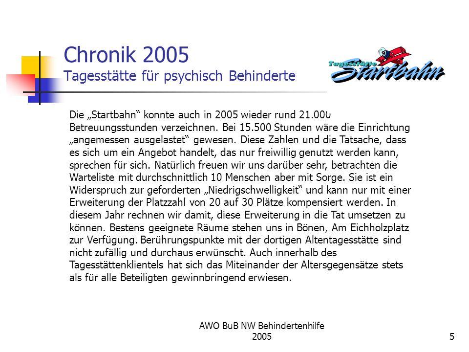 AWO BuB NW Behindertenhilfe 20055 Chronik 2005 Tagesstätte für psychisch Behinderte Die Startbahn konnte auch in 2005 wieder rund 21.000 Betreuungsstu