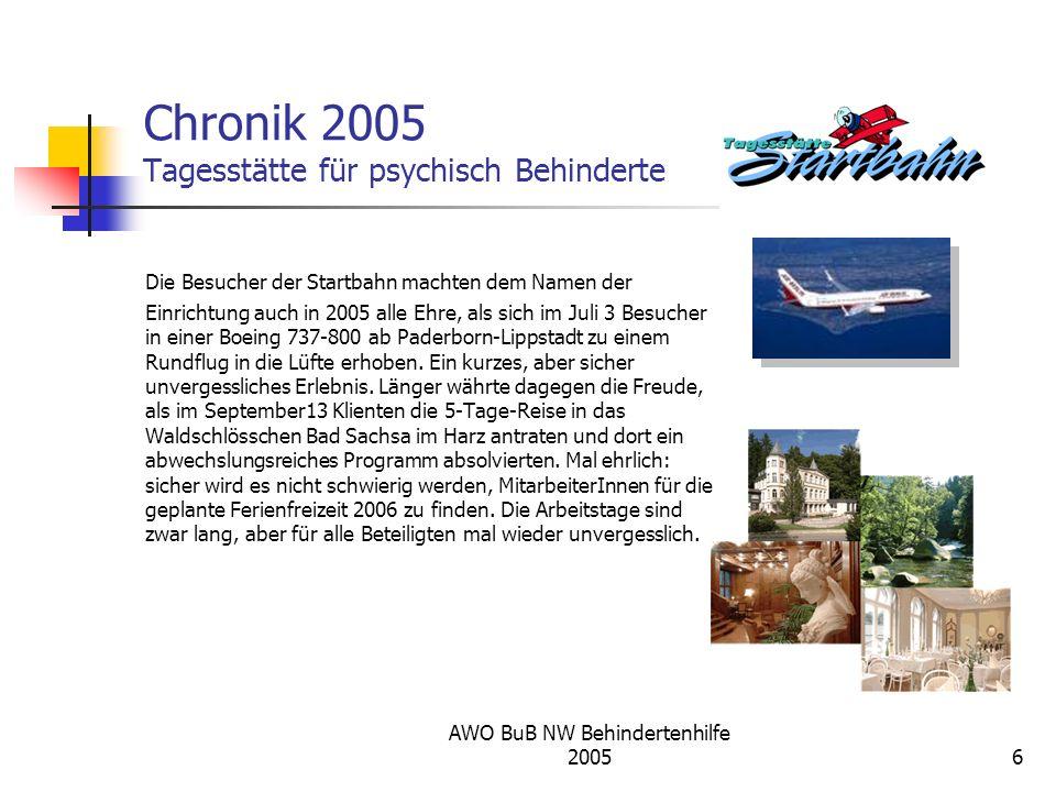AWO BuB NW Behindertenhilfe 20056 Chronik 2005 Tagesstätte für psychisch Behinderte Die Besucher der Startbahn machten dem Namen der Einrichtung auch