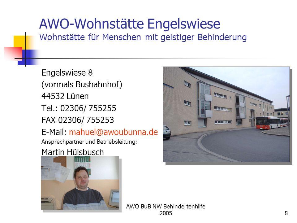 AWO BuB NW Behindertenhilfe 20058 AWO-Wohnstätte Engelswiese Wohnstätte für Menschen mit geistiger Behinderung Engelswiese 8 (vormals Busbahnhof) 4453