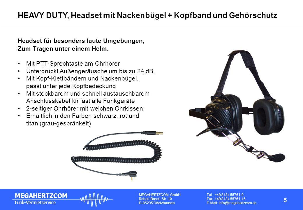 MEGAHERTZCOM GmbH Robert-Bosch-Str. 10 D-85235 Odelzhausen Tel: +49 8134 55761-0 Fax: +49 8134 55761-16 E-Mail: info@megahertzcom.de MEGAHERTZCOM Funk