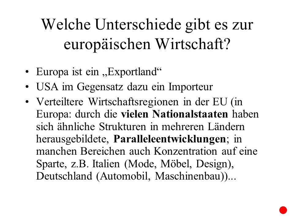 Welche Unterschiede gibt es zur europäischen Wirtschaft? Europa ist ein Exportland USA im Gegensatz dazu ein Importeur Verteiltere Wirtschaftsregionen