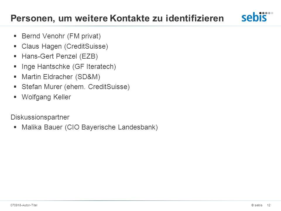 Personen, um weitere Kontakte zu identifizieren Bernd Venohr (FM privat) Claus Hagen (CreditSuisse) Hans-Gert Penzel (EZB) Inge Hantschke (GF Iteratec