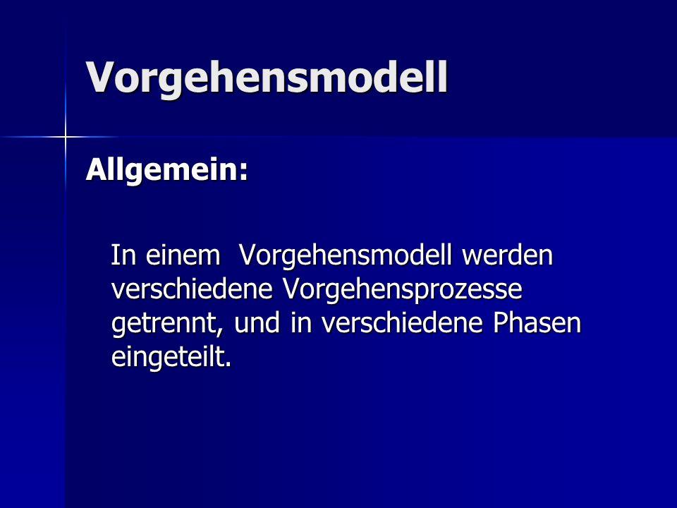 Vorgehensmodell Allgemein: In einem Vorgehensmodell werden verschiedene Vorgehensprozesse getrennt, und in verschiedene Phasen eingeteilt. In einem Vo