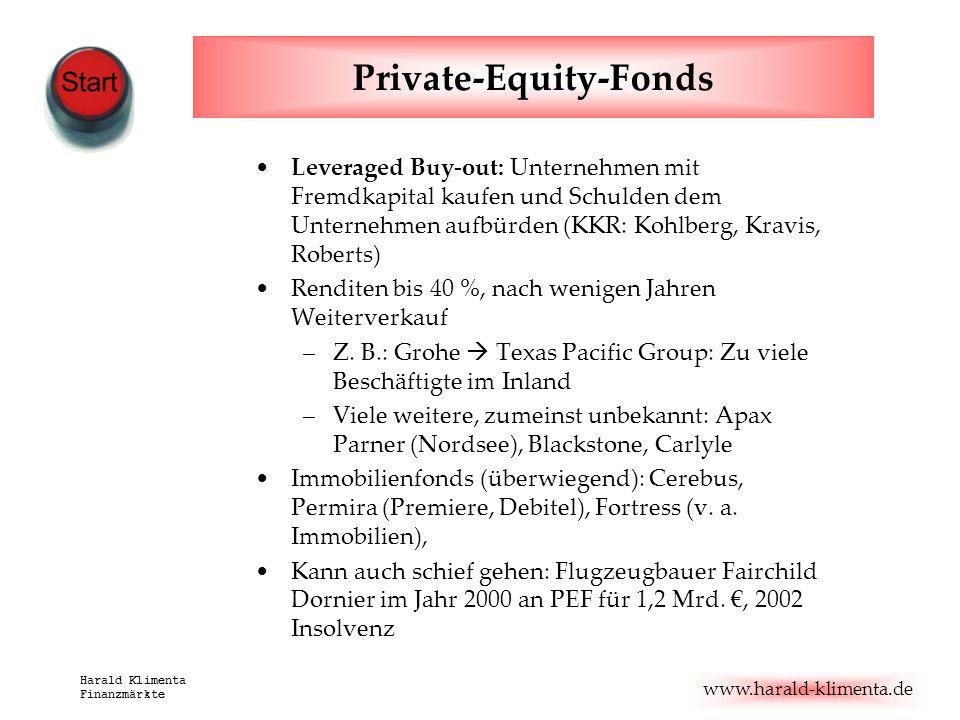 www.harald-klimenta.de Harald Klimenta Finanzmärkte Private-Equity-Fonds Leveraged Buy-out: Unternehmen mit Fremdkapital kaufen und Schulden dem Unter