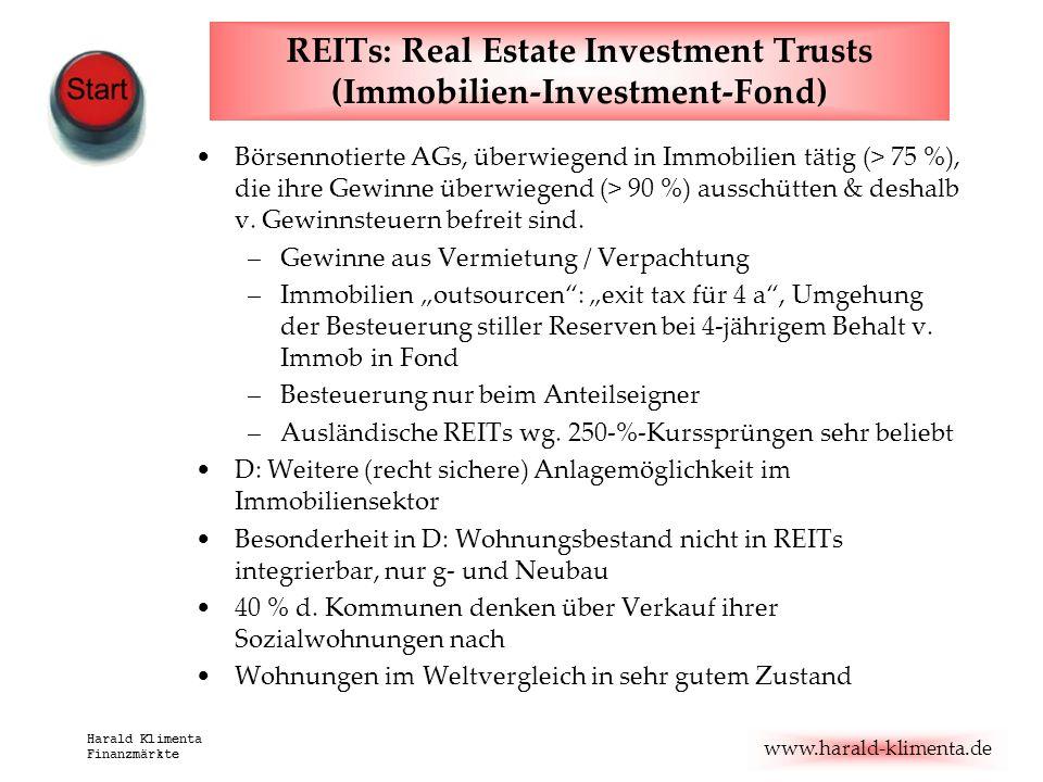 www.harald-klimenta.de Harald Klimenta Finanzmärkte REITs: Real Estate Investment Trusts (Immobilien-Investment-Fond) Börsennotierte AGs, überwiegend