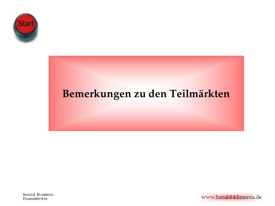 www.harald-klimenta.de Harald Klimenta Finanzmärkte Bemerkungen zu den Teilmärkten