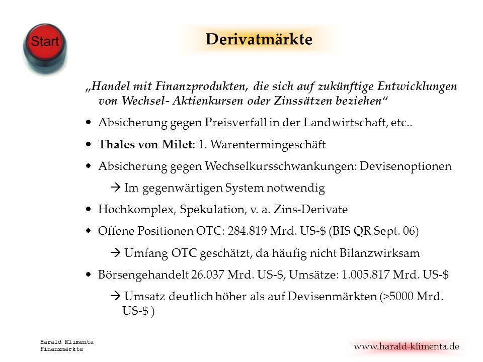 www.harald-klimenta.de Harald Klimenta Finanzmärkte Derivatmärkte Handel mit Finanzprodukten, die sich auf zukünftige Entwicklungen von Wechsel- Aktie