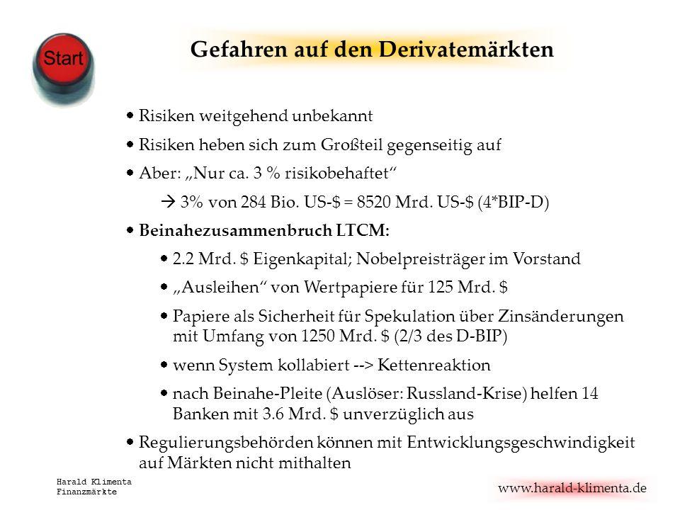 www.harald-klimenta.de Harald Klimenta Finanzmärkte Risiken weitgehend unbekannt Risiken heben sich zum Großteil gegenseitig auf Aber: Nur ca. 3 % ris