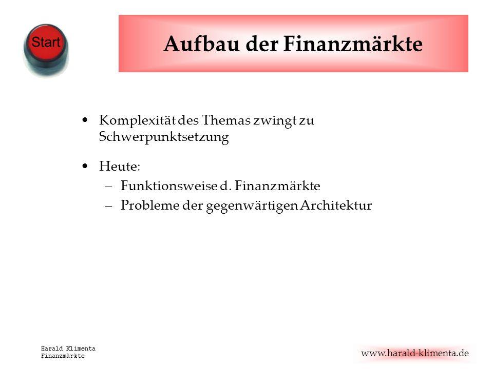 www.harald-klimenta.de Harald Klimenta Finanzmärkte Aufbau der Finanzmärkte Komplexität des Themas zwingt zu Schwerpunktsetzung Heute: –Funktionsweise